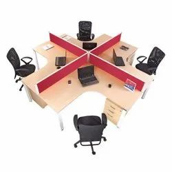 Brown And Red 4 Person Cubicle Workstation, Size: 1500*1500mm