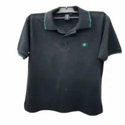 Cotton Men Black Polo T Shirt, Size: S-XL