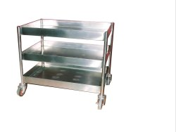 Balsara Engineering Four-Wheel Stainless Steel Kitchen Utility Trolley, Load Capacity: 0-50 kg