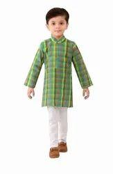 Green Party Wear Check Kurta Pajama