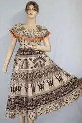 Cotton Printed Marble Jaipuri Pumfum Attached Frock