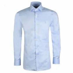 Plain Blue Men Formal Shirts, Handwash
