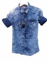 Blue Collar Neck Men Full Sleeve Denim Shirt