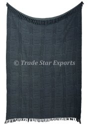Ethnic Block Printed Cotton Throw Blanket African Mud Cloth Picnic Throw Hand Loomed Sofa Throw