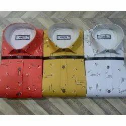 Men'z Cotton Men Printed Satin Shirt