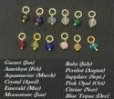 Tiny Gemstone Gold Vermeil Wire Wrapped Birthstone Charms, Necklace Charms