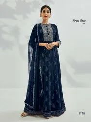 Pure Georgette Embroidered Party Wear, Age Group: 18 Age To 40 Age, Size: Free