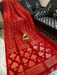 Festive Wear Red Linen By Linen All Over Banarasi Saree With Blouse