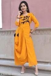 Rayon Party Wear Women's Embroidered Kurti, Wash Care: Machine Wash