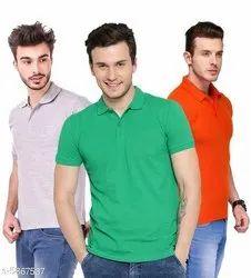 Polycotton Half Sleeve Men Polo Collar T Shirt, Size: S-XXL