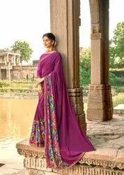 Party Wear Border Cotton Saree, 5.5 m (separate blouse piece), Machine Made