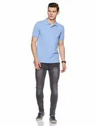 Plain Cotton Sky Blue Polo Collar T Shirt