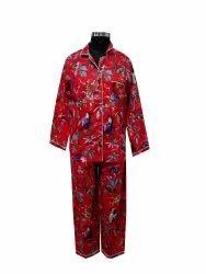 Red Bird Print Cotton Night Suit