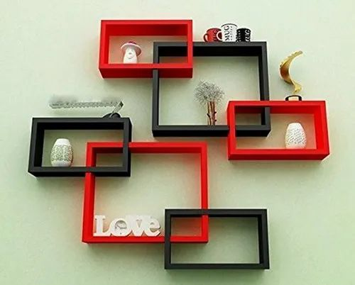 Wall Decoration Shelf Rack Set of 6 Intersecting