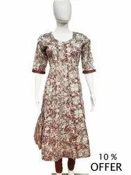 Cotton Casual Wear Printed Kurti, Size: M
