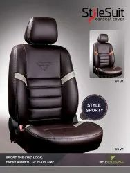 Black and Grey Front Style Sporty Leather Car Seat Cover