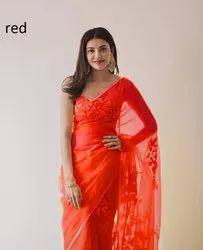 Present Good Looking Organza Saree With Stitch  Work