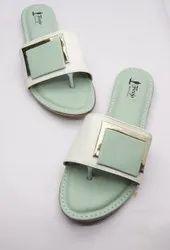 Slip On Casual Wear FLOOJO Ladies Light Green Flat Sandal, Size: 6