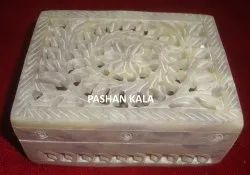 Exclusive Design Indian Soapstone  Jewelry Box, Stone Hand Carved Box