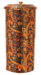 Cylindrical Copper Printed Paisley Design Blue Double Filter Water Pot 13 Ltr
