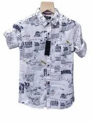 White Men Printed Cotton Shirt