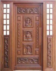 Wooden Antique Carving Design Teak Wood Door, For Home