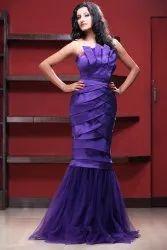 Plain Stitch Navy Blue Party Wear Ladies Gown, Size: Xs-xxl