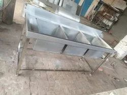 Silver Ready To Mount Stainless Steel Triple Bowl Kitchen Sink for Commercial Kitchen, 72x24x34 Inch