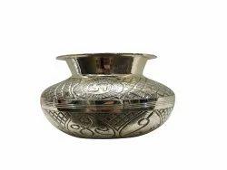 Hand Carved Swastik Brass Lota/kalash, For Worship