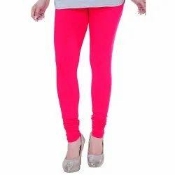 Plain Pink Ladies Churidar Lycra Legging, Size: Medium