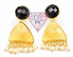 Black Onyx Citrine Quartz Gemstone Stud Earring