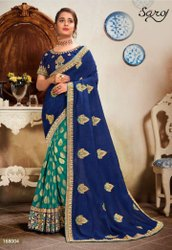 Blue And Rama Color Fancy Saree