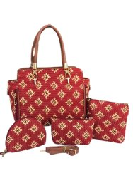 Red and Golden Printed Ladies Designer Cotton Handbags Combo Ikkat Bags Combo, For College