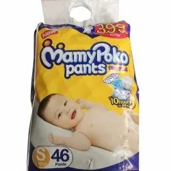 Cotton Disposable Mamy Poko Pants Diapers, Size: Small, Age Group: Newly Born