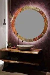 IEEDEE Wall Mounted Designer Luxrel Round Glass Mirror, For Bathroom, Size: 18x18 Inch