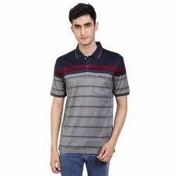 Half Sleeve Cotton Mens Collar Mercerized Polo T Shirt