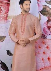 Designer Embroidery Work Festive Wear Kurta With Pajama Mens Wear Catalog Collection