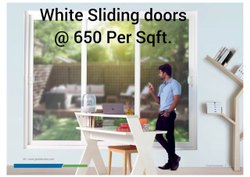 Closet Doors White UPVC Sliding Door, For Office, Exterior