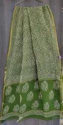 Casual Wear Printed Kota Doria Zari Saree, 6.3 m (with blouse piece)