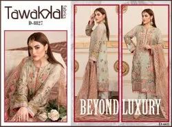 Semi-Stitched Gray and Brown Ladies Chiffon Embroidered Suit, Dry clean