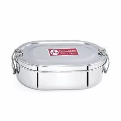 Stainless Steel Capsule Shaped Lunch Box with Steel Separator Plate and Locking Clip Systems