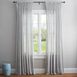 Plain White Satin Curtain, For Home, Size: 6 Feet