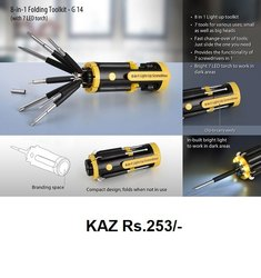 8 In 1 Folding Toolkit With 7 LED Torch
