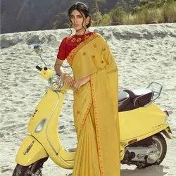 Jacquard Saree With Diamond Work