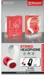 Wired BLACK RED WHITE TP Troops Stereo Headphone 7043 (Box-20) Earphone, Model Name/Number: TP-7043