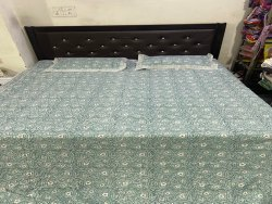Small Floral Cotton Block Printed Bedsheet With Two Pillow