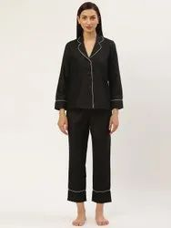 Casual Wear Black Solid Night Suit with Black Solid Pyjama,  Size: S-XXL