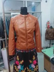 Biker Brown Synthetic Leather Jacket for women