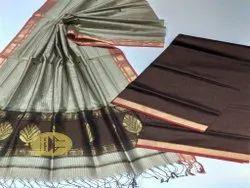 Unstitched Maheshwari Brown-Tussar Buta Buti Suit