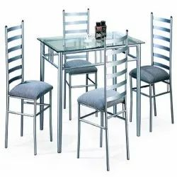 Stainless Steel 4 Seater Dining Table Set